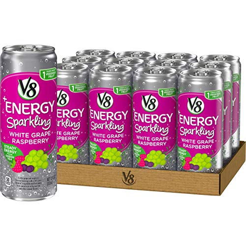 V8 +Energy Sparkling Healthy Energy Drink, Natural Energy from Tea, White Grape Raspberry, 12 Oz Can (12 Count)