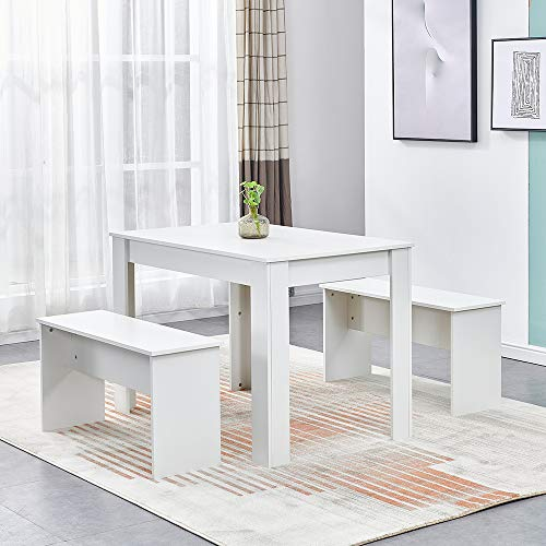 Ansley&HosHo 3 Pieces Dining Room Table and 2 Benches Set, Wooden Kitchen Dinette Set Furniture Table and Chairs Seats for 4 People Small Space (white)