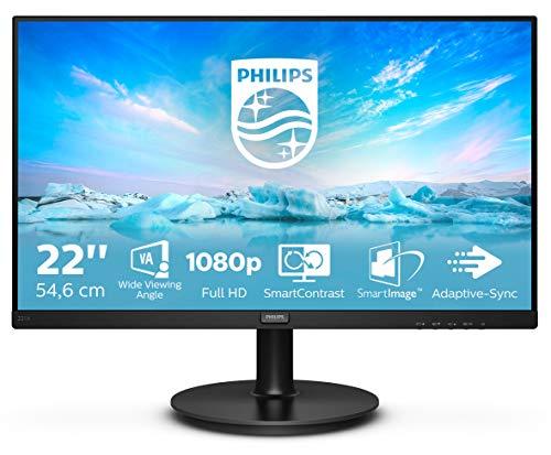 Philips 221V8 Gaming Monitor 22  Adaptive sync 75 Hz, VA, Full HD, 4ms, HDMI, VGA, Attacco VESA, Nero