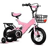 LRZ Niños Bicicleta con Desmontable Formación Rueda, Bicicleta De Montaña con Cesta Y Asiento Trasero, Acero De Alto Carbono Frame Amortiguador Primavera Dispositivo,14 Inch
