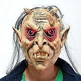 WYXMJ Máscara de Halloween pelucas de cabello gris calvo de ojos rojos, fiesta de maquillaje horror fiesta de terror dedicada