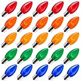 Brightown 25 Pack C9 Incandescent Bulb, C9 Christmas Replacement Light Bulb for Christmas String Light, E17 Intermediate Base, 7 Watt, Multicolor