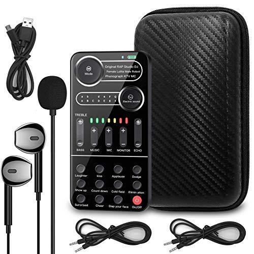 K9 Live Carte son avec effets et modificateur de voix, mixeur audio Bluetooth portable pour PS4/Xbox/Switch/ordinateur/ordinateur portable/iPad/Android/iPhone ou tous les smartphones