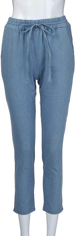 SHOPESSA Women Loose Sweatpants Pull-On Casual Denim Joggers for Women Summer High Waist Active Pants