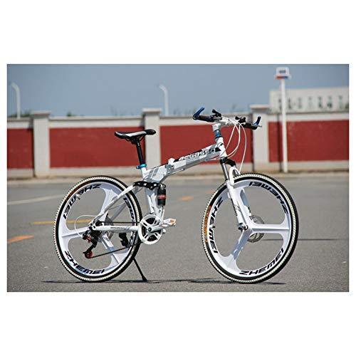 KXDLR Mountain Bike 26 Zoll 3 Spoke Wheels Full Suspension Faltrad 21-30 Beschleunigt MTB Fahrrad Mit Doppelscheibenbremsen,Weiß,30 Speed