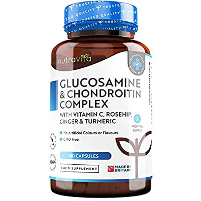 Glucosamine and Chondroitin Complex - Glucosamine Sulphate Enhanced with Turmeric, Ginger, Vitamin C & Rosehip – 180 High Strength Capsules (3 Month Supply) - Made in The UK by Nutravita