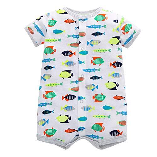 Tyoby Baby Baby-Säuglingsmädchen-Jungen-Einteiler-Karikatur-gestreifte Druckspielanzug-Bodysuit-Kleidung Freizeitheim Babykleidung(Grau,9M)