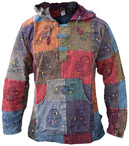 Poncho mantello con cappuccio 100/% Cotone Festival Hippy Boho Azteco Caldo Uomini Donne Gheri