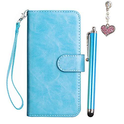 Huawei P Smart Hülle, Huawei 7S Handyhülle Lederhülle PU Leder Cover Wallet Hülle für Superdünne Neun-Karte Huawei 7S HSchutzhülle Smartphone (Blau) +Stylus Pen +Staubschutz