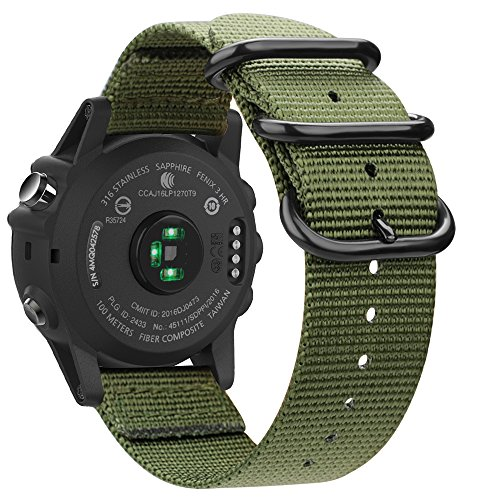 FINTIE Cinturino Compatible con Garmin Fenix 3 / Fenix 3 HR/Fenix 5X / Fenix 5X Plus Smart Watch - Nylon Tessuto Sport Regolabile Band con Fibbia Metallica Cinturini di Ricambio Accessori, Army Green