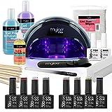 Mylee The Full Works - Set para manicura, 8 esmalte de uñas gel MYGEL, top & base coat, lámpara de...