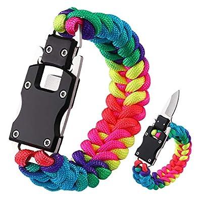 WEREWOLVES Paracord Knife Bracelet Survival Cord Knife Bracelets, Tactical EDC Paracord Bracelet, Emergency Survival Gear for Hiking Traveling Camping, Paracord Bracelet for Women (Dark Rainbow)