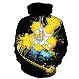 Cartoon The Simpsons Unisex 3D Druck Hoodie Herren Damen Kapuzenpullover HD Print Anime Sweater Langarm Pullover Coole Sweatshirts Kawaii Cosplay Kapuzenpulli Kapuzenjacke Casual Zipper Top XXL