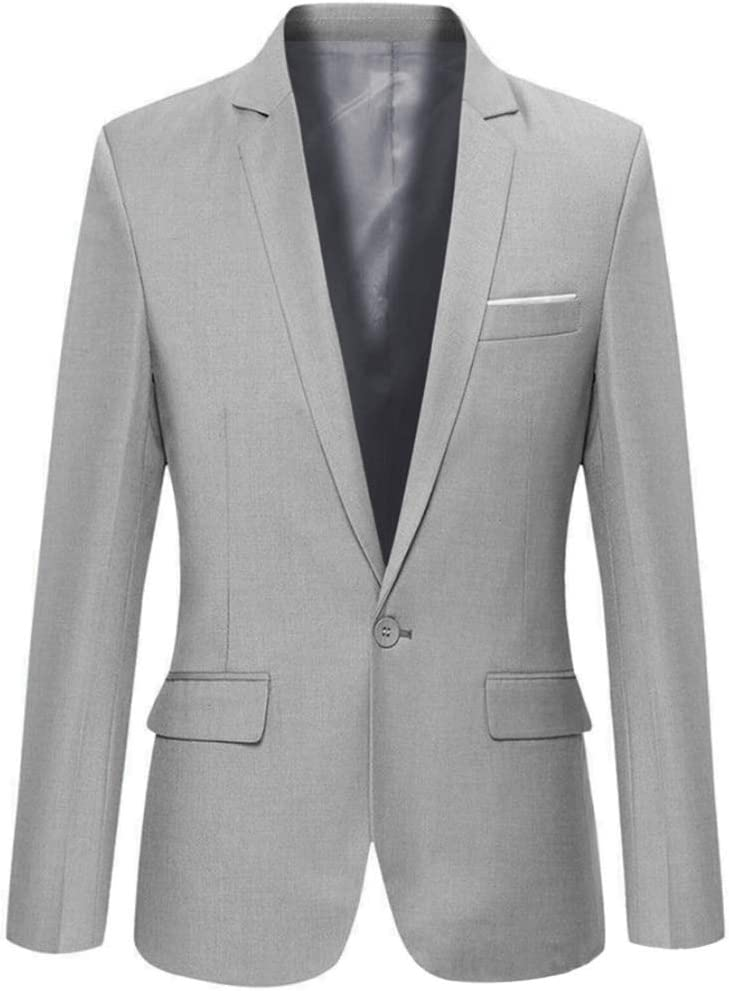 CHENGBEI Stylish Men's Casual Slim Fit Formal One Button Suit Blazer Jacket Coat Tops