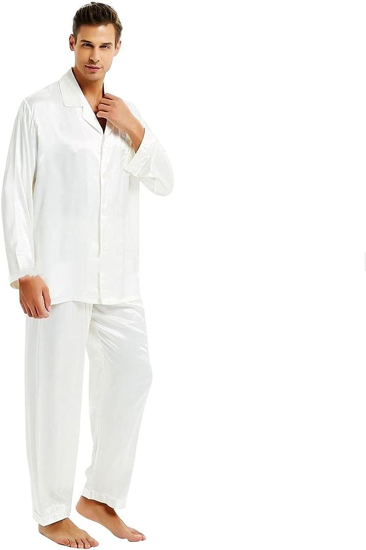 HONGJIU Men's Sleepwear,Mens Silk Satin Pajamas Set Pajama Pyjamas Set PJS Set Sleepwear Loungewear -Gifts (Color : White, Size : XX-Large)