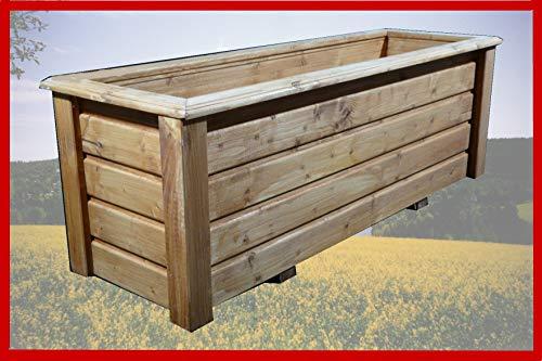 SchwibboLa Pflanzkasten Hochwertiger ClassiV lasiert Teak Außenmaße 100 x 60 x 60 cm Blumenkasten Hochbeet Pflanztrog Nr. PK-697-A8, Holz