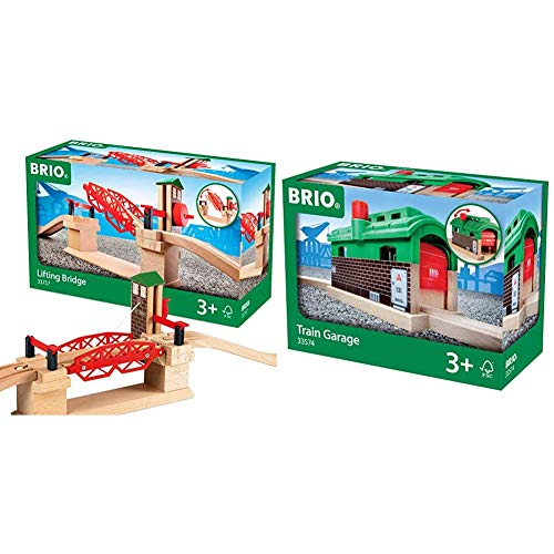BRIO 33757 Lifting Bridge | Toy Train Accessory with Wooden Track for Kids Age 3 and Up & World 33574 - Train Garage - 1 Piece Wooden Toy Train Accessory for Kids Age 3 and Up