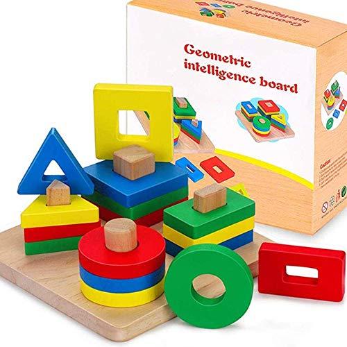 Holz Sortierspiel Formen und Farben, Steckspiel Holzpuzzles Geometrisches Steckpuzzle Stapel mit bunt Steckwürfel Lernspielzeug sichere Geschenk für Kinder, Junge, Mädchen und Babys