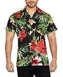 CLUB CUBANA Camisa Hawaiana Florar Casual Manga Corta Ajuste Regular para Hombre L