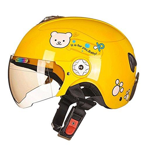 DGF Casque moto vélo Skate Skating Sports enfant Summer Boys & Girls Cartoon Patterns voiture de sécurité électrique de sécurité casquettes four Seasons Multicolor (Couleur : Le jaune-S)
