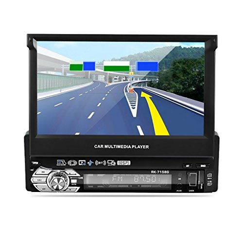 LESHP Car Stereo 1 Din 1080P HD Car MP3 MP5 Player Bluetooth with 7'' Auto Touch Screen, Rear View Camera, Sat Navigation, Support USB, AUX, BT, ESP, FM/AM Radio Car Multimedia Player