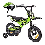 Kawasaki Kinderfahrrad 12 Zoll Kasaii Cross BMX Moto grün mit Rücktrittbremse und Fahrradhelm Shikuro grün Gr. 50-52