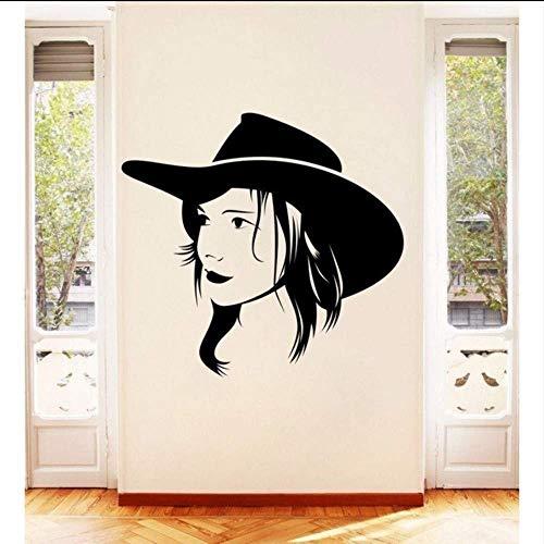 Muursticker muursticker huisdecoratie vrouwelijke portret raamdecoratie huis muurschildering PVC Vinyl verwijderbare muurposter 61 * 56Cm