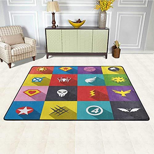 Superhero Outdoor Patio Rug 4' x 6', Retro Superhero Badge Patchwork Style Several Logo Signs Comic Humor Artwork Soft Mat Decorative Carpet, Multicolor