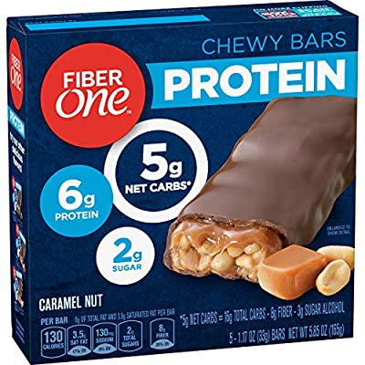 Fiber One Protein Bar, Caramel Nut Chewy Bars, 6g Protein, Snacks, 5 ct.