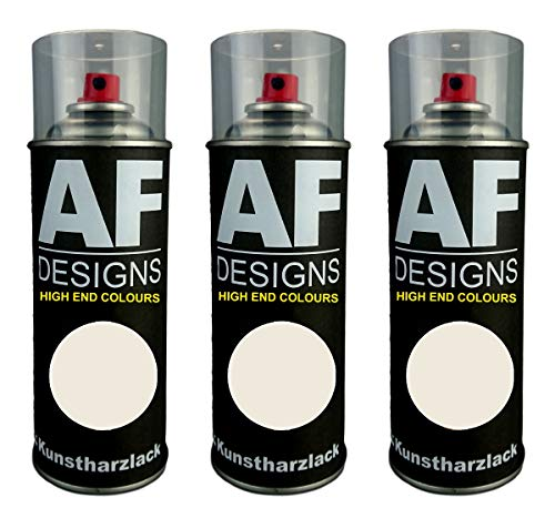 Alex Flittner Designs 3X Kunstharz Lackspray Buntlack Spraydose RAL9001 CREMEWEISS matt
