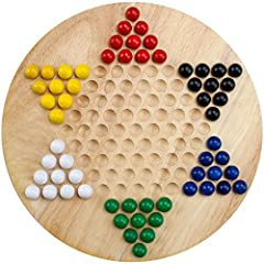 "SECOND TO NONE QUALITY: Our Chinese Checkers board is made from Natural Wood and sports an 11.5"" diameter, making it the perfect size for most tables A RAINBOW CONNECTION: Playset comes with 60 wooden marbles in six distinct and brilliant colors MAST..."