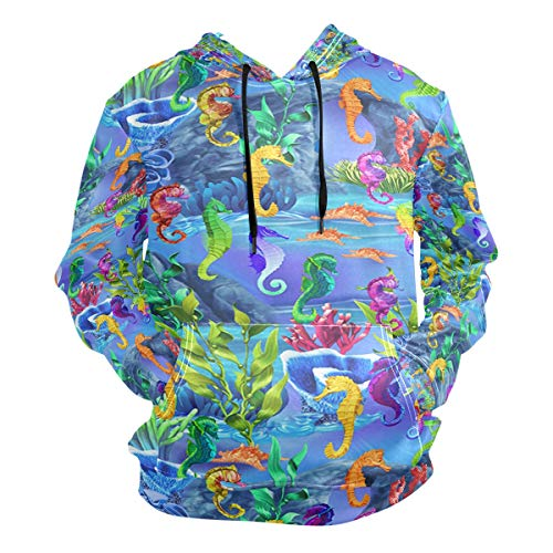 Underwater World Rainbow Seahorses Men's Hipster Hip Hop Classic Pullover Long Hoodie Sweatshirts Jacket