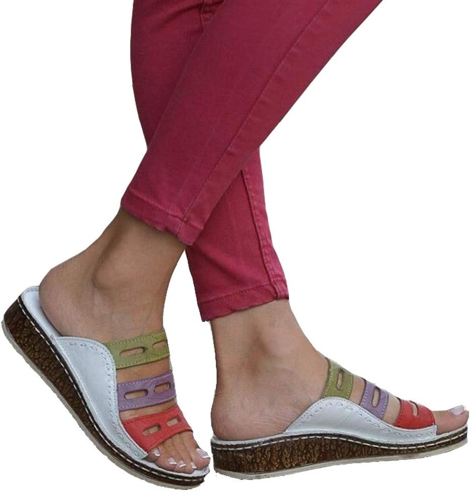 Tricolor Orthopedic Sandals Women 2020 Stitching Slip-on Sandals Open Toe Sandals for Ladies Casual Summer Color Comfy Wedge Sandals8.5-Brown