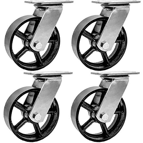 FactorDuty 4 Pack 6' Vintage Caster Wheels Swivel Black Cast Iron Heavy Duty Casters Industrial 4000LB Overall Capacity Rustic Retro Antique Cart Style Old Style
