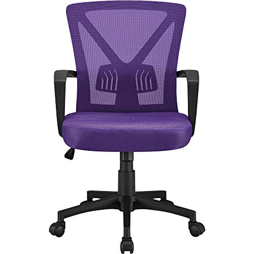 Yaheetech Executive Chair, Ergonomic Office Chairs, Ergonomic Adjustable Computer Chairs with Wheels Study Chairs Purple