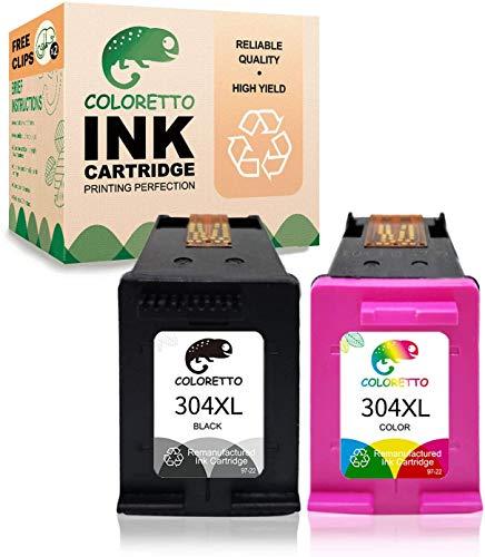 COLORETTO Rigenerata Cartuccia d'inchiostro per HP 304XL 304XL (1Nero,1 tricromia) Compatibili per stampanti HP AMP Series: AMP 100 120 125 130 Deskjet Series: 2622 2624 2652 2655 2680 2730
