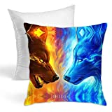 Cojín para el hogar con diseño de lobo de fuego, suave para el hogar, sofá, decoración para sostener almohadas, ser escrito, acuarela