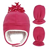 ECUSSY Toddler Boys Girls Winter Hat with Mitten Set Fleece Lined Infant Baby Beanie with Ear Flaps Rose 6-12 Months