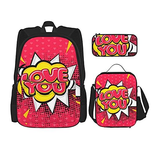 Terug naar school benodigdheden Love You Boom Art Roze Studenten 3 In 1 School Rugzak Set Lichtgewicht Rugzak/Lunch Tas…