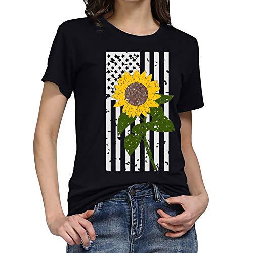 Xmiral Maglietta da Donna T-Shirt con Stampa Taglie Forti Maglietta da Giorno dell'indipendenza (3XL,6Nero)