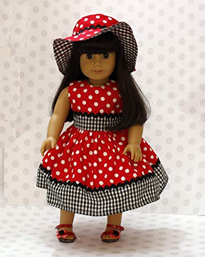 18 inch doll dress Hand Made Doll dress red /white polka dots with combination hat. (fits American Girl doll and all 18 inch dolls)