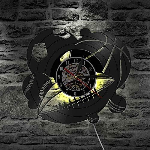 Reloj de Pared con combinación de Pelota Deportiva Decoraciones para el hogar Baloncesto Golf Retro Golf Disco de Vinilo Reloj de Pared Regalo Deportivo para Parejas 30x30cm