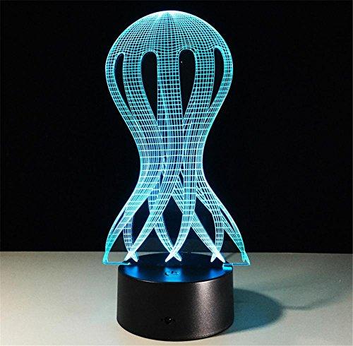 Veilleuses Illusions Optiques Jellyfish lampe de bureau 3d 7 couleurs Changement tactile interrupteur à distance Tableau de commande LED Night Light Lighting Décoration Accessoires pour la maison