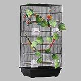 SZQ-jaula Ampliación de la azotea Jaula del loro, 43,5 * 33 * los 92CM Cockatiel Finch Canarias jaula de pájaros Aves Casa jaulas for mascotas Negro Blanco Metal la jaula jaula de cría Jaula de Pequeñ