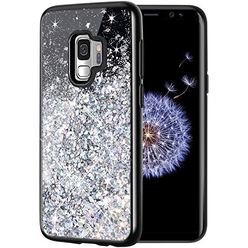 Caka Galaxy S9 Case, Galaxy S9 Glitter Case Starry Night Series Luxury Fashion Bling Flowing Liquid Floating Sparkle Glitter Girly Soft TPU Case for Samsung Galaxy S9 (Silver)