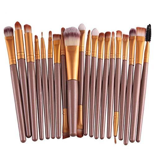 Beito 20Pcs Maquillage Pinceaux Ensemble Complet Poudre Fondation Fard À Paupières Eyeliner Lèvres Brosse Cosmétique (café)