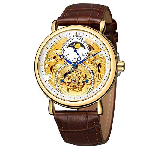 Herren Automatikuhr Skelett Glasboden Armbanduhr mit Lederarmband Männer Mode Hohle Mondphase Geschnitzte Hohle automatische mechanische Uhr Luxus Business Armbanduhr +Geschenk Box (Uhr)