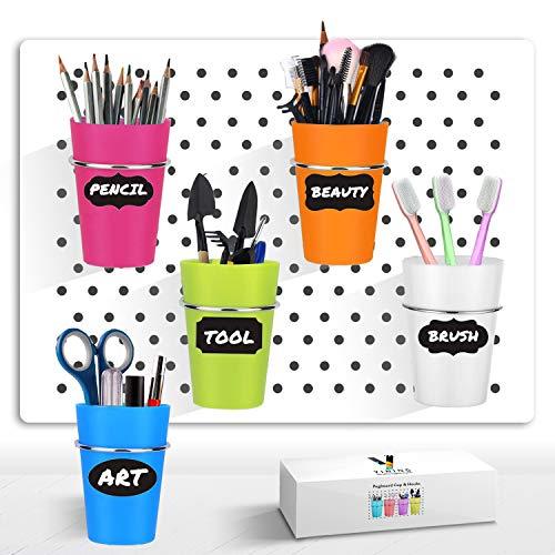 Pegboard Cup with Hooks, 5 Set Pegboard Bins Kit Storage Organizer Holder Accessories for Pegboard, Crafts, Garden, Washroom, Workshop, office desk - Middle Size (Colorful)