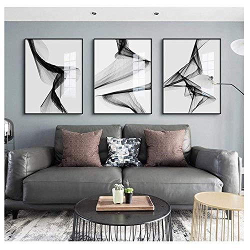 SXXRZA Leinwand Wandkunst 3x50x70cm kein Rahmen Abstrakte Linie Schwarz Weiß Kunst Wandkunst Leinwand Malerei Poster Bild für Wohnzimmer Morden Home Decor