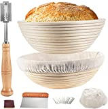 Proofing Basket 9 Inch+10 Inch, TAOUNOA Bread Proofing Basket, with Dough Scraper, Bread Lame, for...